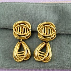 Vintage Gold Twisted Glam Earrings